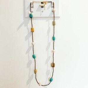 Long boho metallic & turquoise stone necklace
